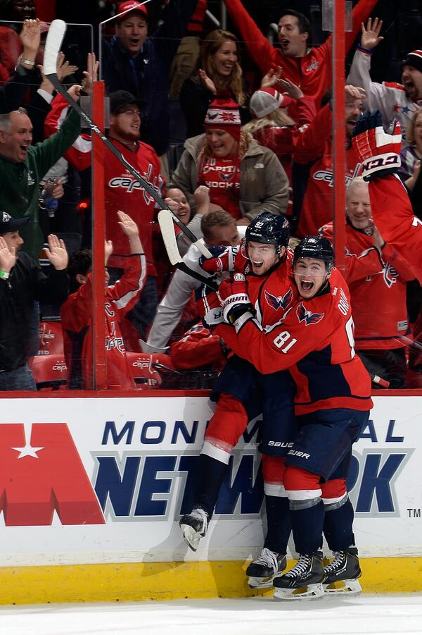 Kuzya and Dima celebrate together after game tying goal from Kuznetsov (NHL.com)