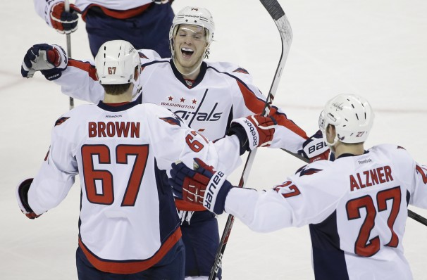 Chris Brown celebrates his first NHL goal. (WashingtonPost.com)