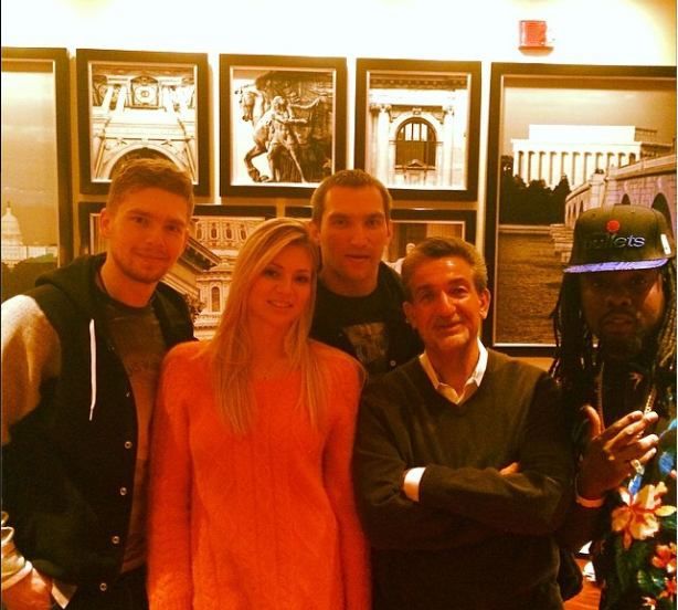 Kuzy, Ted, Maria, Ovechkin and Wales pose for a photo (@mkirilenko87)