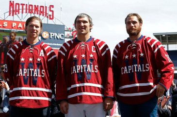 Backstrom, Ovi, and Holtby pose for media during the revealing of the 2015 Winter Classic Jerseys.