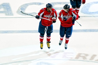 Ovechkin and Backstrom Celebrate Win